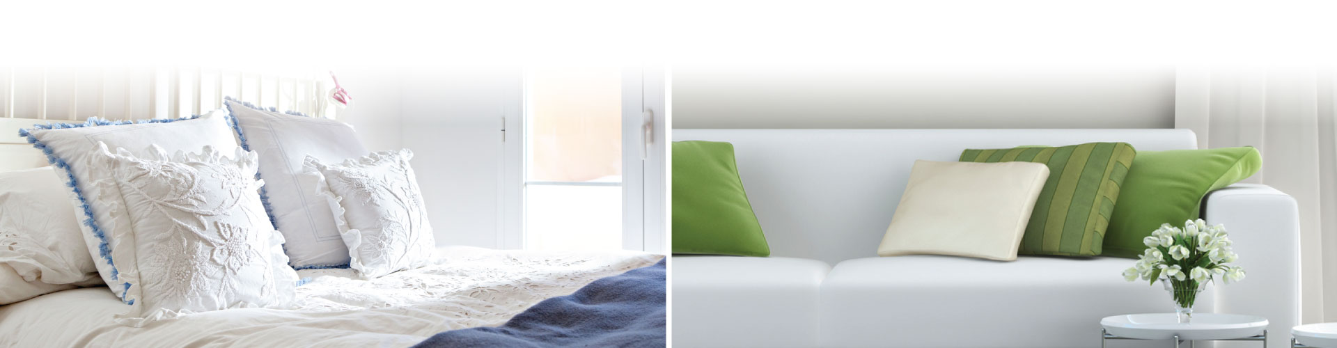 Diptych of bed and couch