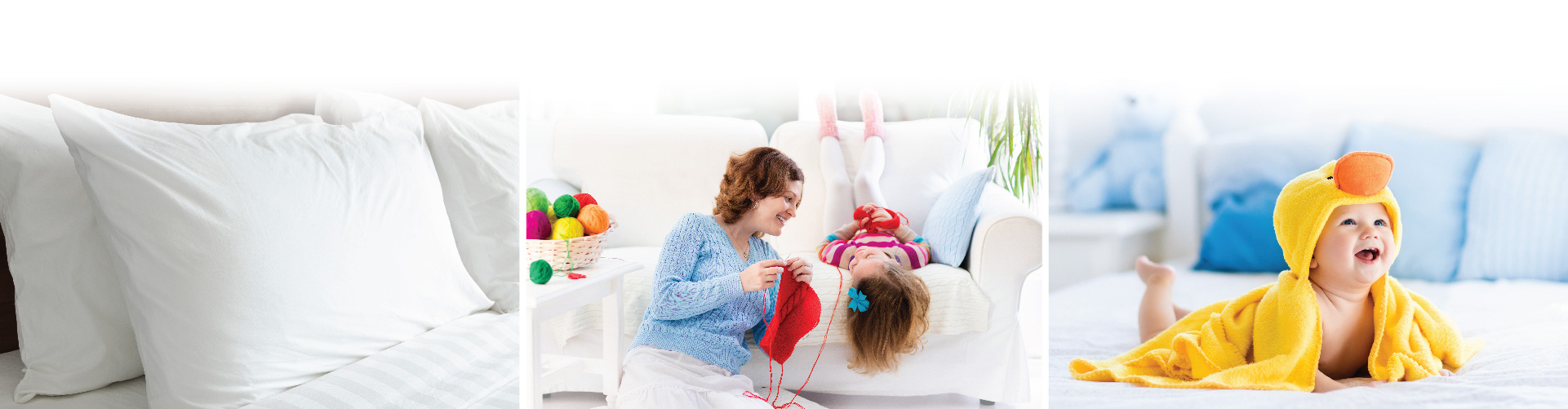 Pillow on a bed, a mother and daughter sitting by the couch knitting, a baby lying on a bed after bath time