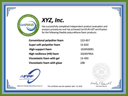 CertiPUR-US sample product evaluation certificate